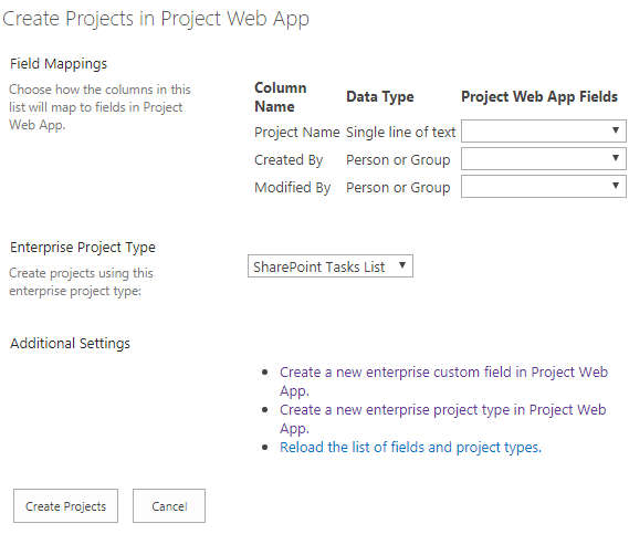 Create Project in Project web app