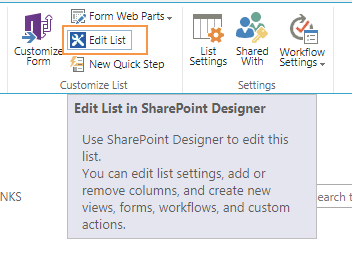 Edit List In SharePoint Designer from browser