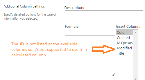 Using ID in a Calaulated Column in SharePoint