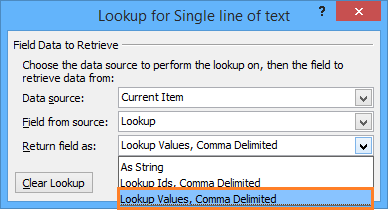Lookup values, comma delimited