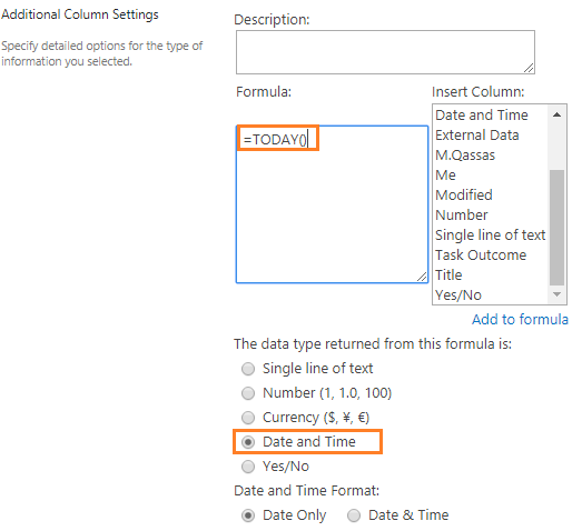 Using Today in SharePoint Calculated Column