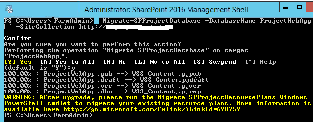 Migrate Project Web APP Database in Project Server 2016 - Migrate-SPProjectDatabase