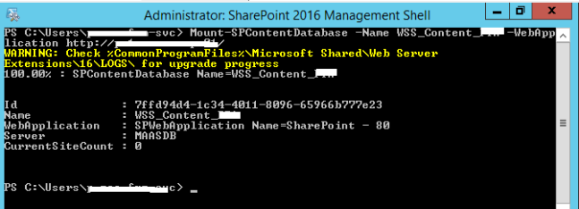 Mount PWA Content Database - Upgrading to Project Server 2016