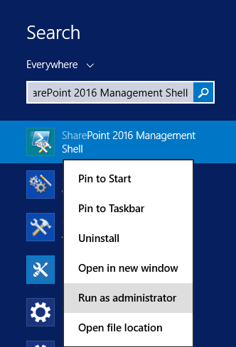 Open SharePoint 2016 PowerShell - Upgrade and Migrate to Project Server 2016