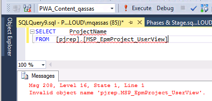 Invalid object name 'pjrep.MSP_EpmProject_UserView'