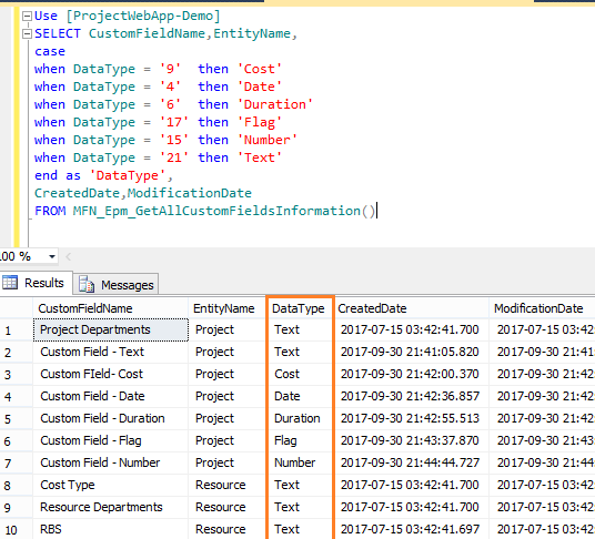 Project Server 2016: Get The Enterprise Custom Fields