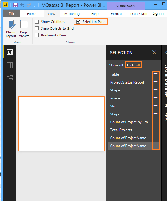 Hide All Items in Power BI Using Selection Pane