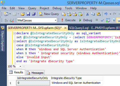 SERVERPROPERTY('IsIntegratedSecurityOnly')