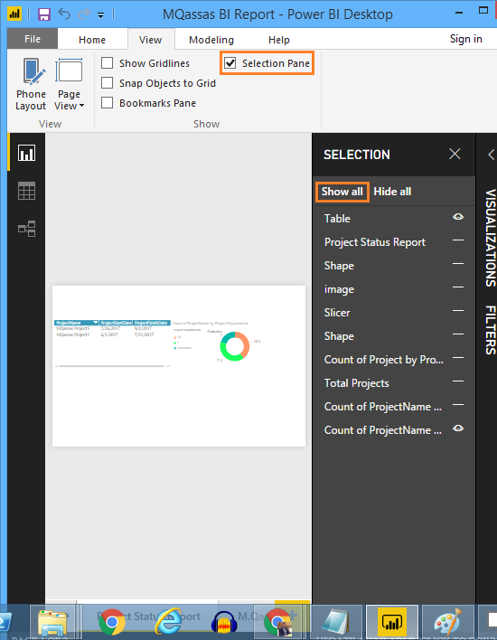 Show All Items in Power BI Using Selection Pane