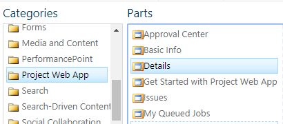 Details web part in Project Server