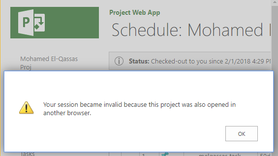 Your session became invalid because this project was also opened in another browser