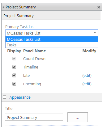 Project Summary Web Part settings