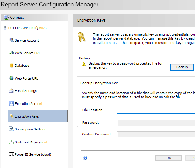 Backup Power BI Report Server Encryption keys