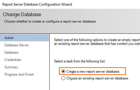 Configure Power BI Report Server - create a new Power BI Report Server Database