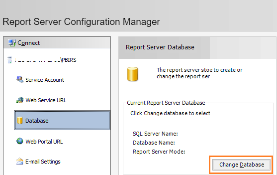 Configure Power BI Report Server - Database