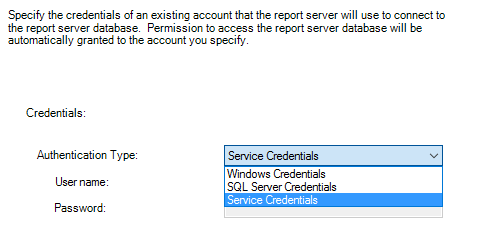 Configure Power BI Report Server - Power BI Report Server Database Credentials