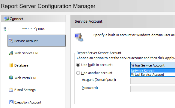 Configure Power BI Report Server - Service Account
