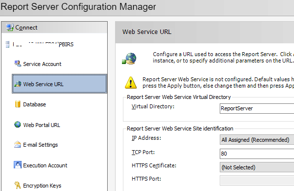 Configure Power BI Report Server - Web Service URL