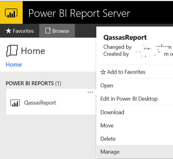 Manage report in Power BI