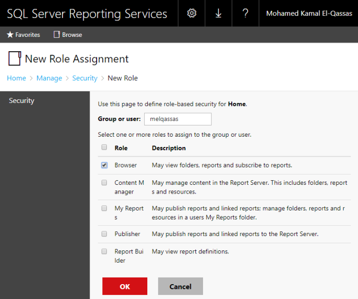 New role assignment in Reporting Service 2016