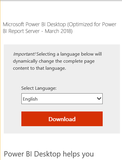 Power BI Desktop Download link For Power BI Report Server