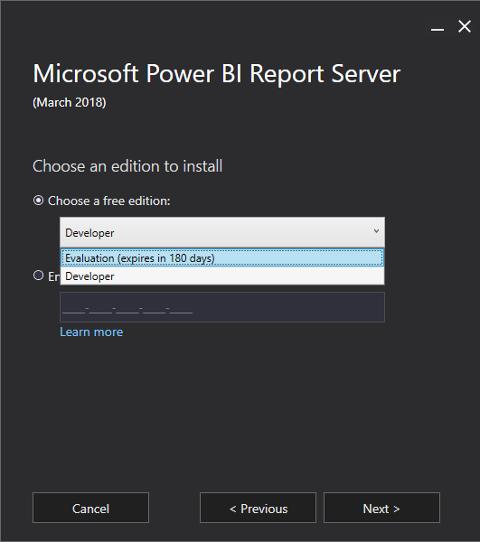 Report Power BI Report Server Editions