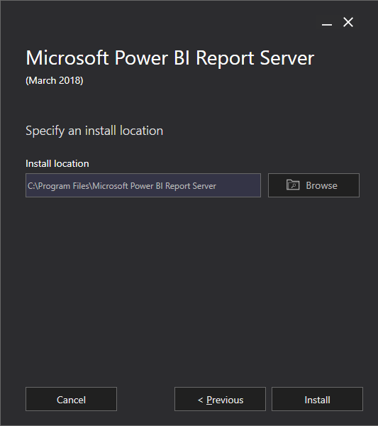 Report Power BI Report Server - Installation Location