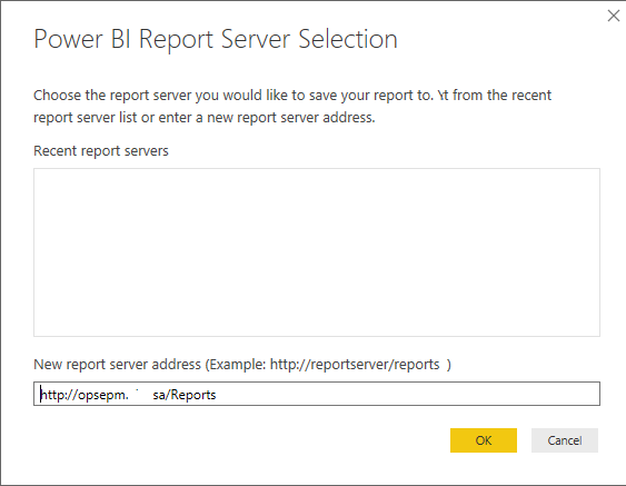 Set the Power BI Report Server URL in Power BI Desktop