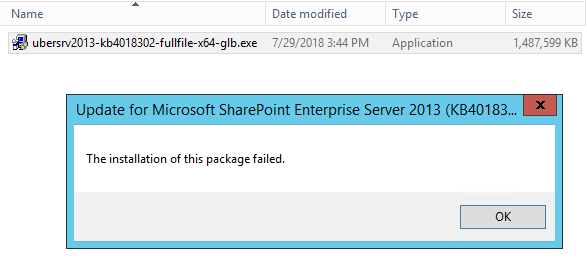 The installation of this package failed - SharePoint Server 2013