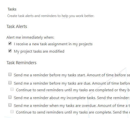 Task Alerts and Reminders In Project Server 2016