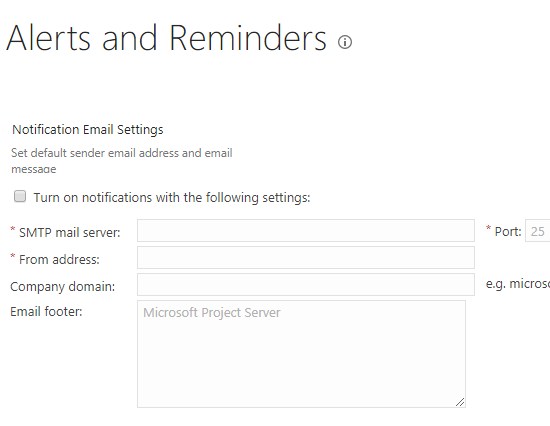 Turn on notifications in Project Server 2013