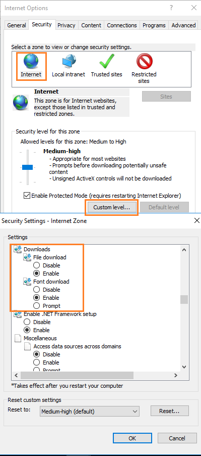 Enable Download in Internet Explorer