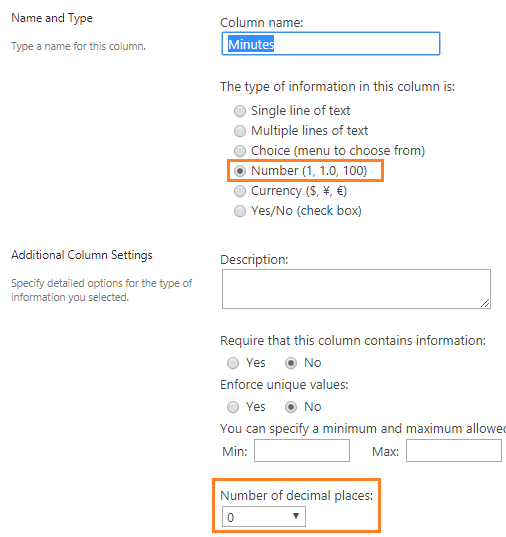 Show Minutes as a time format in SharePoint