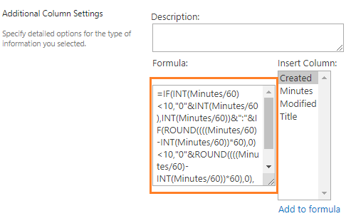 Time Format SharePoint Calculated Field Formula