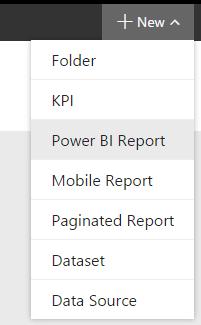 new power bi report in report server