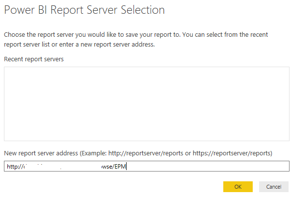set Power BI report server url