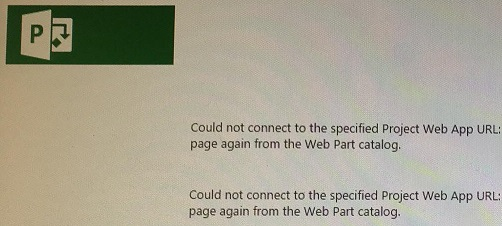 Could not connect to the specified Project Web App URL.