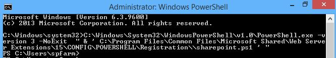 Run SharePoint Management Shell from Command Prompt