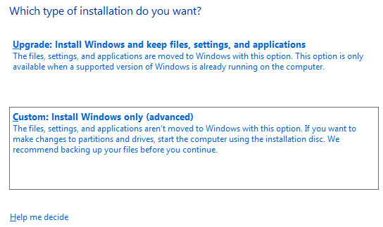 Type of installation in Windows Server 2016