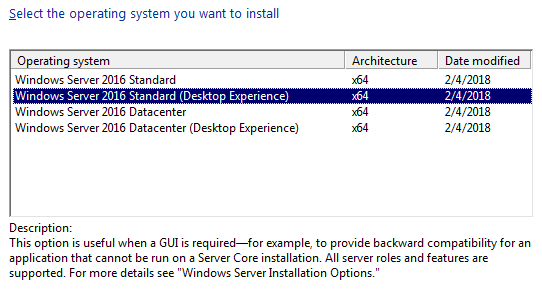 Install Windows Server 2016 with GUI (Desktop Experience)
